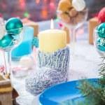 Christmas festive xmas eve table board setting New Year snowman — Stock Photo #59219781