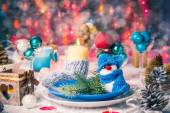 Christmas xmas eve table board setting New Year — Stock Photo
