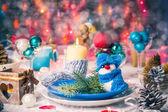 Christmas xmas eve table board setting New Year — Stock Photo