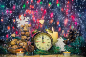 Festive Christmas clock time twelfth New Year — Stock Photo