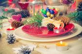 クリスマス クリスマス前夜テーブル ボードの設定 — ストック写真