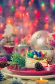 Christmas xmas eve table board setting — Foto Stock