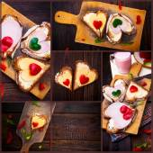 Collage pepper cheese sandwiches love wooden table heart valenti — Stock Photo