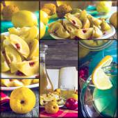 Collage tincture quince fruit apple alcohol intake — Stock Photo