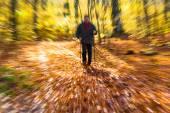 Nordic walking sport run walk motion blur outdoor person legs fo — Zdjęcie stockowe
