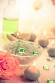 Spa concept salt bath scented candles — Stock Photo
