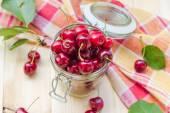 Summer fruits closeup cherries jar processed — Stock Photo
