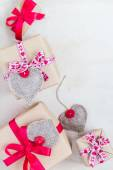 Valentines Day gifts hand sewn hearts old paper — Stock fotografie