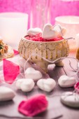 Spa composition Valentines Day heart love body health — Stok fotoğraf