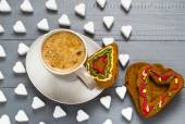 Valentine cup coffee boards sugar cubes cakes heart — Stock Photo