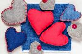 Valentines background  Handmade hearts old paper — Foto Stock