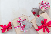 Valentines Day gifts hand sewn hearts old paper — Stock Photo