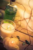 Scented candles attributes rest relaxation — Stock Photo
