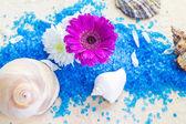 Spa set bath salt flowers — Stock Photo