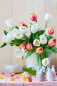Easter still life bouquet spring tulips — Stock Photo