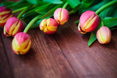 Art abstract background spring tulips wooden design — Stok fotoğraf