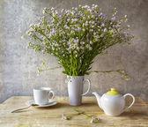 Still life bunch small white florets china — Stock Photo