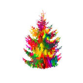 Colorful watercolor fir-tree — Stock Vector