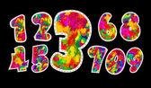 Colorful watercolor numerals — Stock Vector