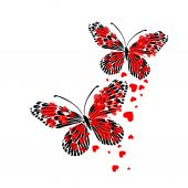 Butterfly of red hearts — Stockvector
