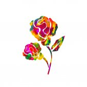 Watercolor abstract multicolored rose — Cтоковый вектор