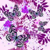Seamless purple floral background with butterflies — Stock Vector