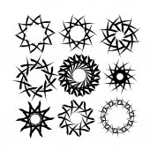 Set of abstract suns — Stock Vector