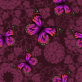 Pink butterflies flying silhouettes — Stock Vector