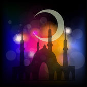 Mosque and crescent moon — Stock Vector