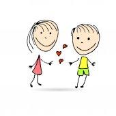 Valentines day holiday cartoon card — Stock Vector