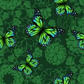 Green butterflies flying silhouettes — Stock Vector