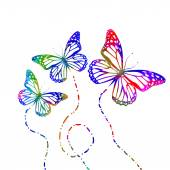 Butterflies flying silhouettes — Stock Vector