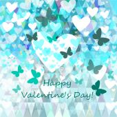 Valentines Day blue butterflies — Stock Vector