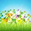 Spring arrow background with green grass. — Stock Vector #53894135