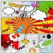 Set of Retro Comic Book Vector Design elements, Speech and Thought Bubbles — Stock Vector
