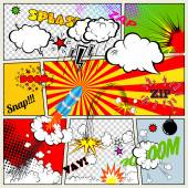 Set of Retro Comic Book Vector Design elements, Speech and Thought Bubbles — ストックベクタ