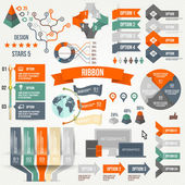 Infographics set with options. Infographic, Ribbon, Logo, Icon and 3d Vector Elements. Social Communication Concept. — Stockvector