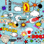 Vector Retro Seamless Pattern with Comic Speech Bubbles, Labels, Logos and Comic Book Words — Stockvector