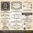 Vector Calligraphic element Border Corner Frame and Invitation Collection. Decoration Typographic Elements, Vintage Labels, Ribbons. Invitation design vector illustration — Stock Vector #58381395
