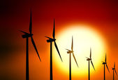 Wind turbine at sunset background — Stock Photo
