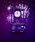 Ancient clock in New Year's midnight — Stock Photo
