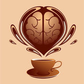 Coffee and brain — Stock Vector