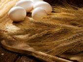 Wheat and eggs — Stock Photo