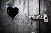 Wooden door with heart — Stock Photo