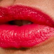 Beautiful woman with red shiny lips close up — Stock Photo #66971383