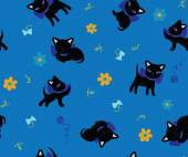 Set of cats silhouettes seamless background — Photo