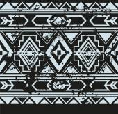 Vector ethnic seamless pattern with american indian traditional ornament in black and white colors. Tribal background. — Stock Vector