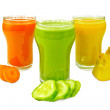 Juice vegetable in three glasses with vegetables — Stock Photo #55762047