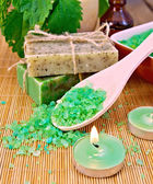Salt and candles with nettles in mortar on board — Stok fotoğraf