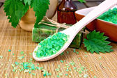 Salt and soap with nettles in mortar on board — Foto de Stock